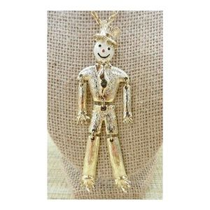 Vintage Articulated Gold Tone Scarecrow Necklace